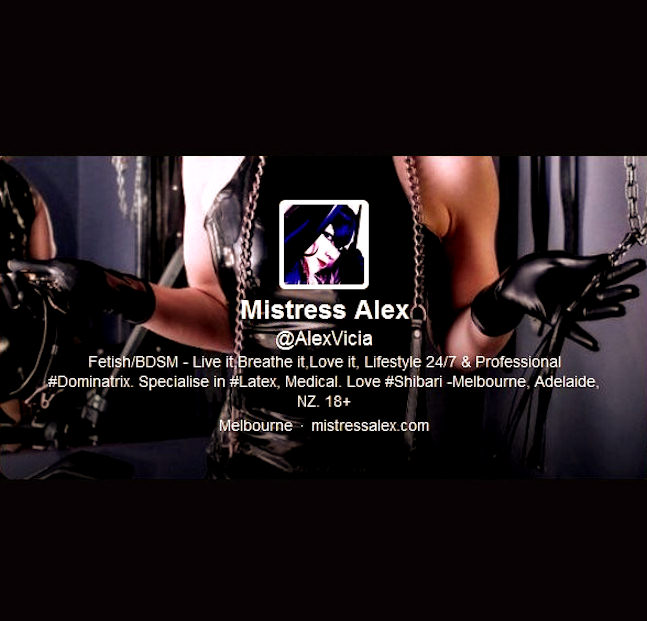 Mistress Alex on social media